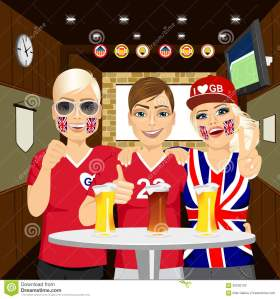 three-happy-english-soccer-fans-drinking-beer-pub-friends-cheering-65035120